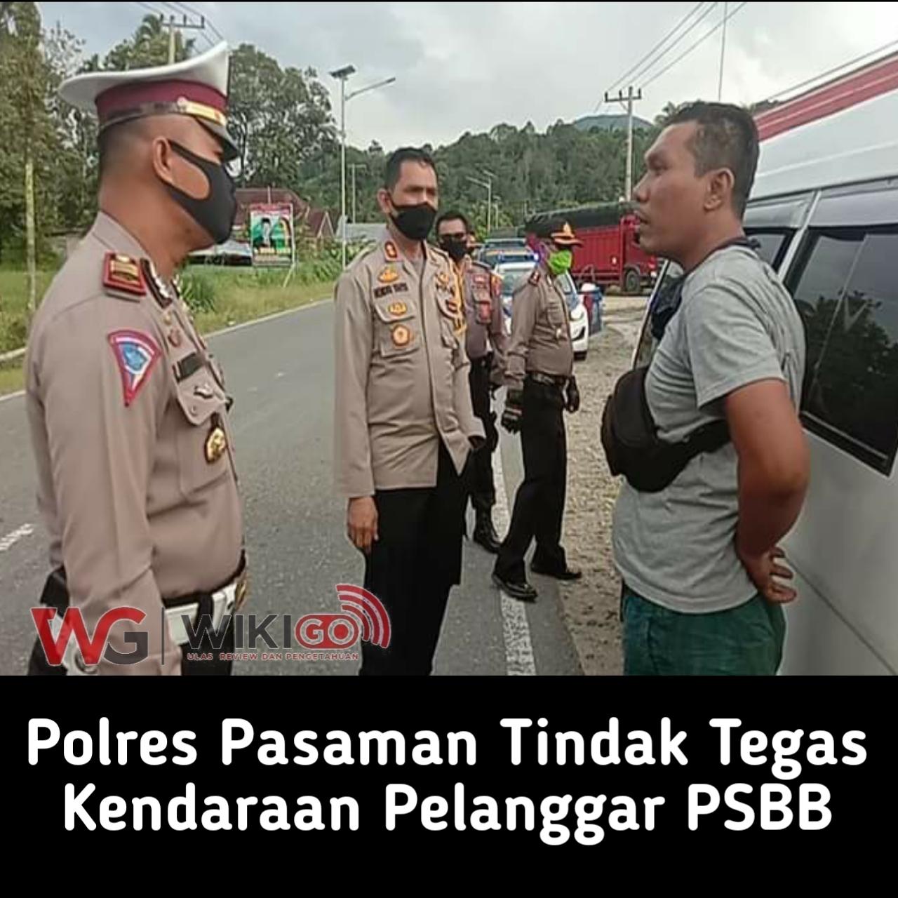 Polres Pasaman Tindak tegas kendaraan pelanggar PSBB