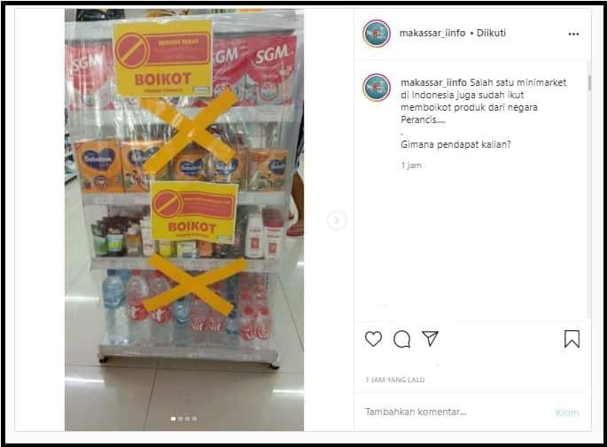 Viral! Minimarket Mulai Boikot Produk Prancis