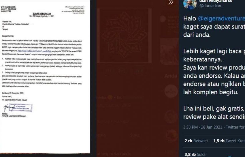 polemik eiger komplain review produknya